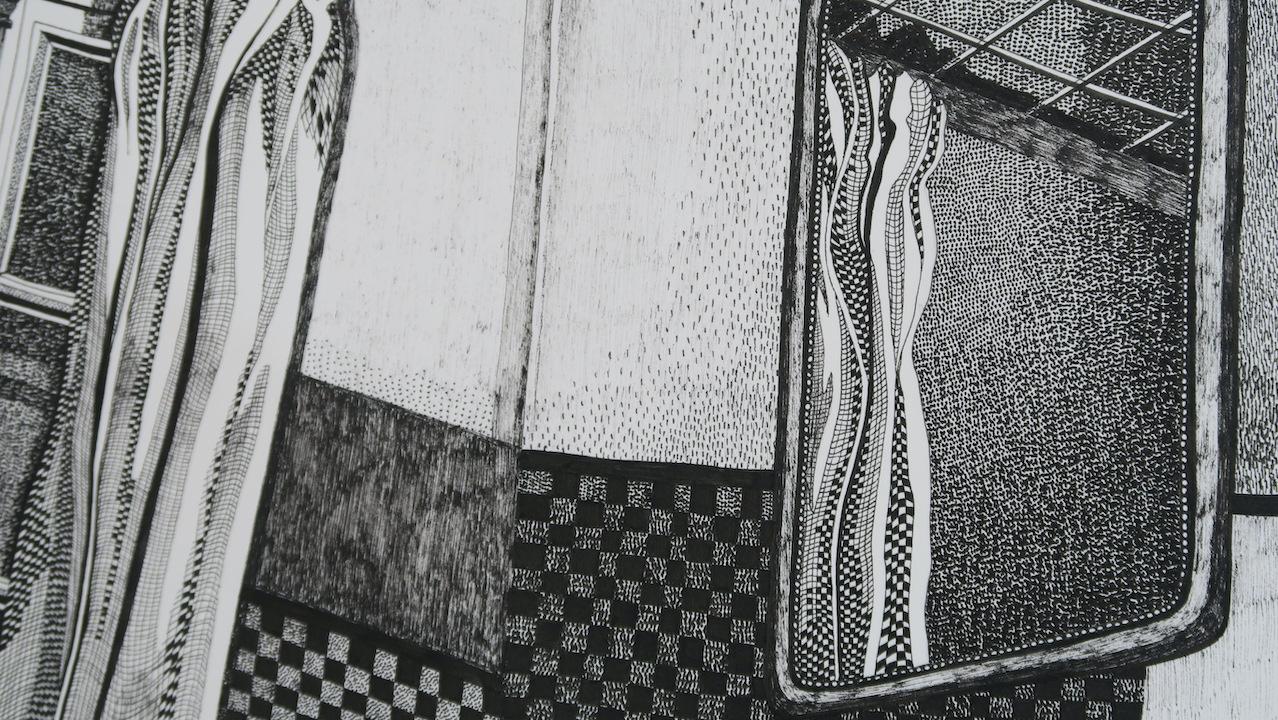 """Elsa Broustet, détail de """"Mal de mer à Malesherbes"""" (2019), dessin au feutre, 29,7 x 42 cm. 700 €"""