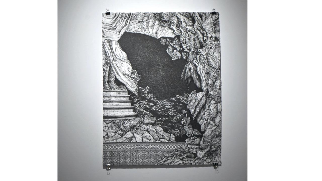 """Elsa Broustet, """"La grotte"""" (2021)- Feutre sur papier, 65,9 x 50,4 cm . 1 600 €"""