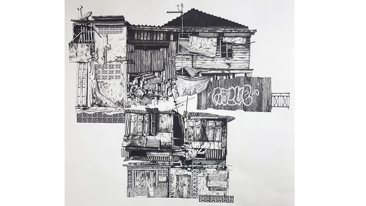 """Elsa Broustet, """"Vietnam"""" (2020), Feutre sur papier, 48 x 64 cm. 1 200 €"""