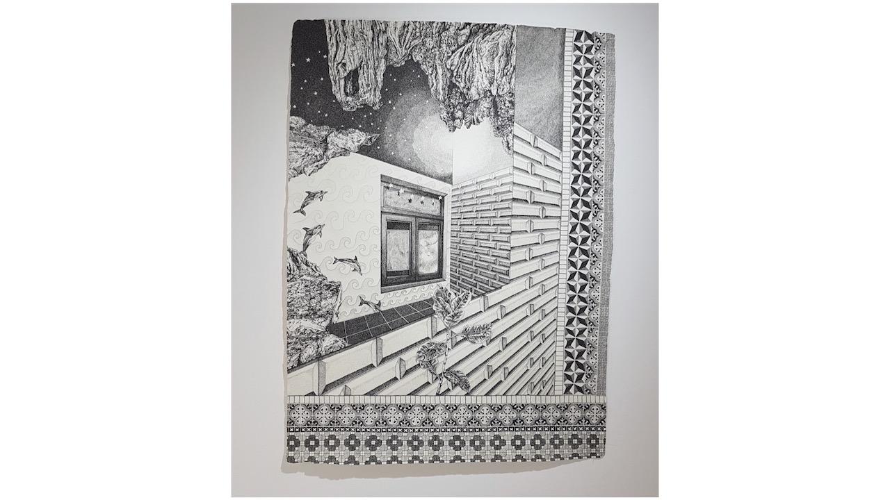 """Elsa Broustet, """"La salle de bain du premier"""" (2021) 76 x 57 cm.  1 800 €"""